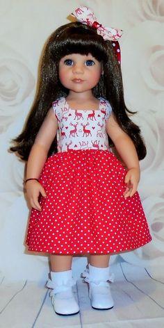 Christmas dress, & hair bow for Gotz Hannah & Designafriend dolls by Vintagebaby