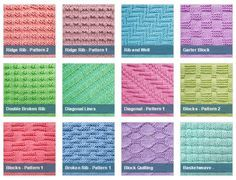 List of free stitch patterns using only knit and purl stitches for knitters of all levels. All with pictures and full patterns. Easy to follow instructions and easy to knit. | knitpurlstitches.com