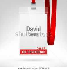 Conference badge with name tag placeholder. Blank badge template in plastic holder with red lanyard. Vector illustration. Vertical layout.