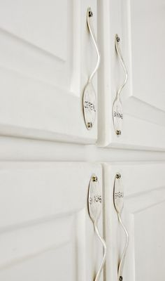DIY:  Stamped Silver Cabinet Hardware Tutorial - made from vintage silver plate. Budget friendly project!