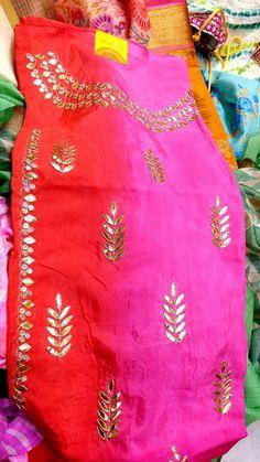 Gota tops on silk fabric by Araina fabs .09983401578