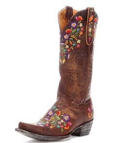 "The Sora boot defines Old Gringo style - Bright floral embroidery on distressed leather - 13"" shaft rises midway up the calf - 5 out of 5 stars - $550.00"