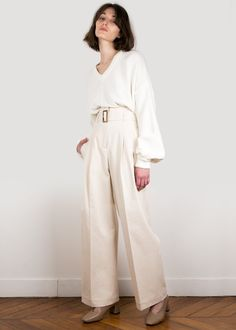 #newarrivals #beige #dirtywhite #highwaisted #belted #wideleg #pants #thefrankieshop #frankienyc #frankiegirl Beige Belted Loose Cotton Trousers – The Frankie Shop