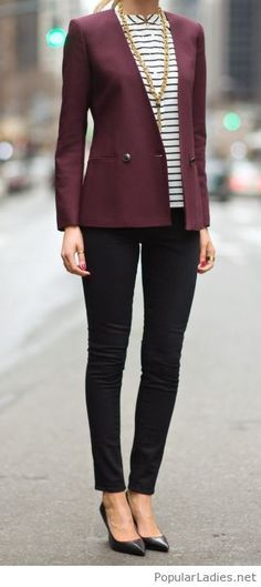 Love this burgundy blazer, it's perfect for office
