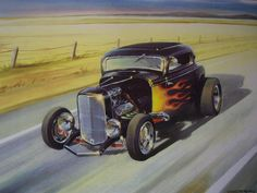 Ian Guy Motoring Artist painting of a 32 Deuce Coupe Black n Flamed Ford three window Hot Rod