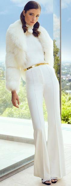 Resort 2020 Haney I Lynne MacFarlane White Fur, Black White Red, Fashion 2020, Fashion Show, Gold Fashion, High Fashion Dresses, Dressy Pants, Shabby, Two Pieces