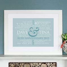 A special, personalised anniversary gift - this stylish, beautifully designed piece of typographic art, tailor made just for them!  What do you give the couple who have everything?  We will create a stunning piece of art that depicts their life together over the last 40 years - their family, children, grandchildren, hobbies and interests, places lived, their travels, things they love to indulge in, favourite sayings, music, cars... you can add just about anything that is meaningful to them…