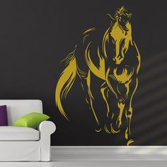 The Golden Horse Wall Sticker. A well bred, free moving horse with its polished mare and bristling physique is a sight to behold in itself and takes the breath away. Get one of these golden bright horse wall decals stickers for your walls and enjoy the handsomeness of the magnificent golden beast. http://walliv.com/racing-horses-wall-sticker-art-decal-3547