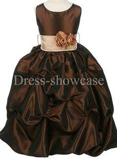 New Sleeveless Dark Brown Taffeta Ball Gown Flower Girl Dress Coral Flower Girl Dresses, Fall Flower Girl, Flower Girls, Girls Dresses, Inexpensive Dresses, Frocks For Girls, Taffeta Dress, Dresses For Less, Brown Dress