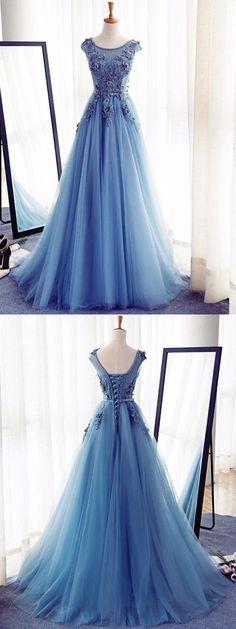Beautiful Prom Dress,A-line Blue Color Scoop Floor-length Tulle Handmade Evening Dress