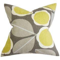 Brice Yellow Floral Decorative Throw Pillow