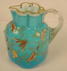 Moser Pitcher Applied Acorns, controlled bubbles ca 1885 8 1/2 inches tall