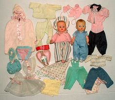 "1950s VOGUE 8"" BABY DOLL PAIR w GINETTE DOLL & JIMMY DOLL w TAGGED OUTFITS MORE!"