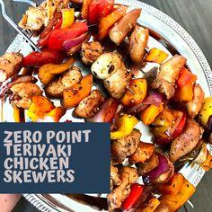 Zero Point Teriyaki Chicken Skewers - Pound Dropper Teriyaki Chicken Skewers, Teriyaki Marinade, Marinated Chicken, Sugar Free Teriyaki Sauce, Greek Turkey Burgers, Cilantro Chicken, Skewer Recipes, Recipe Creator, Chicken Marinades