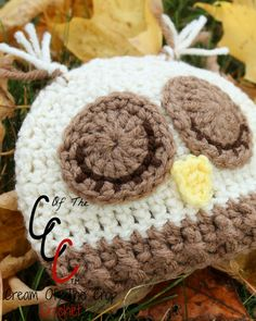 Cream Of The Crop Crochet ~ Preemie/Newborn Sleepy Owl Hats {Free Crochet Pattern}