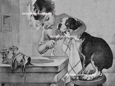 Little Girl Brushes Dog's Teeth, Puppy Hygiene, Great Bathroom Print, Great Gift for Dentist, Graduating Dental Student  #81 by annswhimsey on Etsy https://www.etsy.com/listing/227759942/little-girl-brushes-dogs-teeth-puppy