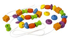 Plan Toys Lacing Beads help children learn about color, shapes and sizes while developing fine motor skills. The set includes 2 laces and 30 wooden beads in 6 different shapes and colours.