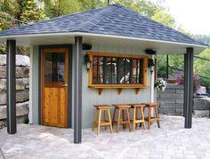 back yard bar with roof | Backyard Cabana
