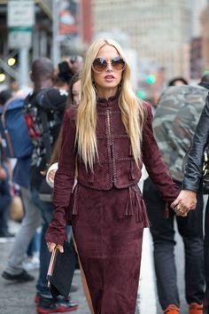 New York Fashion Week Street Style Spring 2016 - #NYFW #StreetStyle | Rachel Zoe in suede burgundy ensemble
