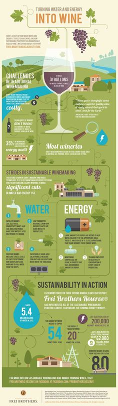 It takes 31 gallons of water to make a glass of wine. Check out how wineries are adding water and energy conservation practices to lighten their environmental footprint. Check out the infographic and more details here: http://wp.me/p5uvq3-4P.