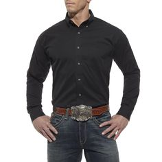 78a2972d Ariat Men's Solid Performance Shirt - Black Western Wear Stores, Cowboy  Boots, Westerns,