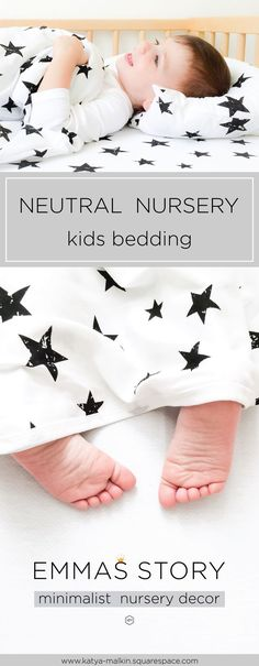 How to make a neutral nursery for baby?Neutral nursery decor ideas, neutral nursery bedding, monochrome bedding, kids bedding, black and white nursery, monochrome nursery, stars, baby shower by Emma's Story