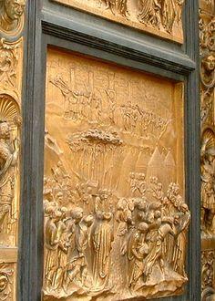 Baptistry doors, (Ghiberti's Gates) Florence This scene depicts the Fall of Jericho in OT. Italian Renaissance, Renaissance Art, Religious Architecture, Art And Architecture, Florence Baptistery, Lorenzo Ghiberti, Italian Sculptors, Italian Artist, Sacred Art