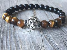 Gemstone bracelet Men bracelet Lion bracelet door KennlyDesign