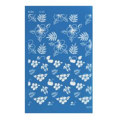 Silk Screen Moiko pour Pâte polymère 74x105 mm - Motif Fleur Tropicale et Tortue 9.06