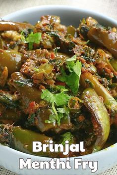 Sharing you one of my favourite recipes Vankaya Menthi Kura recipe(brinjal methi Fry). The recipe is so simple to make and goes well with Rice. Indian Vegetable Recipes, Veg Recipes, Spicy Recipes, Curry Recipes, Indian Food Recipes, Methi Recipes, Vegetarian Recipes, Healthy Recipes, Veg Dishes