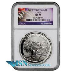 2014-P Australia 1 oz. Silver Koala $1 NGC MS70 Mint State 70     The silver Australian Koala coin has featured a unique design each year since its debut in 2007. This year's coin is no exception. Its reverse side features an adult koala's head with eucalyptus leaves - the primary source of nutrition for the Koala in the Australian wild. SOLD OUT check www.isnmoderncoins.com/33757 to find alternatives.