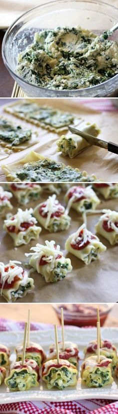 Recipe for Mini Spinach Lasagna Roll Ups - I know we all love lasagna but it doesn't necessarily have the best presentation. We like that it has a comfortable gooeyness that can be slopped on a plate to devour.