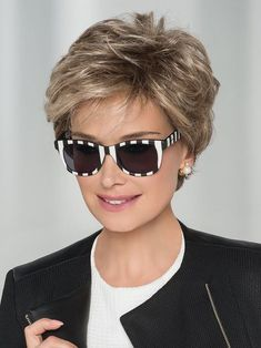 Impulse, Petite Average Human Hair Blend Hand-Tied Lace Front Monofilament Top Wig by Ellen Wille Medium Thin Hair, Short Thin Hair, Short Grey Hair, Short Hair With Layers, Short Hair Cuts For Women, Short Hairstyles For Women, Hairstyles Men, Medium Layered, Black Hairstyles