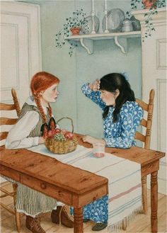 Anne of Green Gables signed giclee print. Anne and Diana drinking Raspberry Cordial. Anne White, Illustration Noel, Art Illustrations, Carl Larsson, Anne With An E, Ligne Claire, Anne Shirley, Period Dramas, Sculpture Art