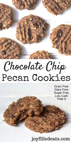 These simple Pecan Cookies are bursting with flavor. They have only 8 ingredients and are full of chocolate chips, chopped pecans, and cinnamon. All you need is a bowl and a wooden spoon. They are Grain/Dairy/Sugar Free, Low Carb, and a THM S.