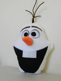 """""""Olaf"""" character pillow inspired by the new movie, Frozen. MaggieElizDesigns on Etsy, $30.00"""