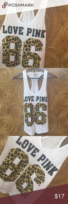 •PINK• Tank Has a little bit of oiling since it's in used condition! But still super cute! Size xs but could also fit a size small as well!! PINK Victoria's Secret Tops Tank Tops