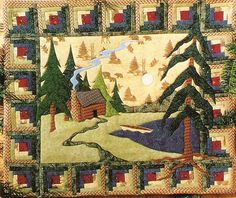 Log Cabin Applique Quilt
