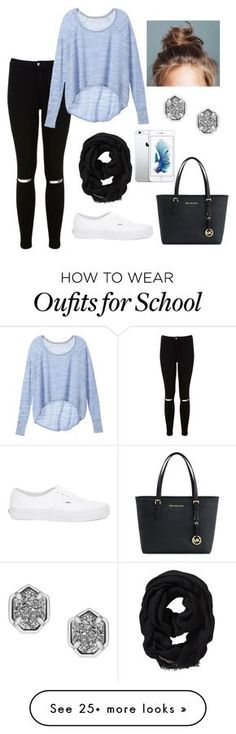 """""""Casual school day"""" by lindacoker on Polyvore featuring Miss Selfridge, Victoria's Secret, Old Navy, Vans, Michael Kors and Kendra Scott"""