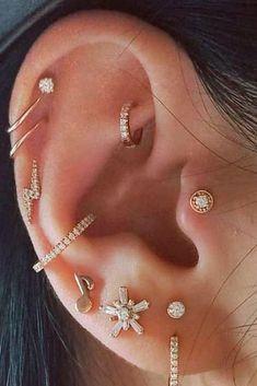 The 8 Most Popular Types of Ear Piercings - Tattoo & Piercing - . - The 8 most popular types of ear piercings – tattoo & piercing – … 8 Most Popular Typ - Pretty Ear Piercings, Ear Peircings, Types Of Ear Piercings, Multiple Ear Piercings, Unusual Piercings, Ear Piercings Chart, Different Ear Piercings, Female Piercings, Ear Piercing Helix