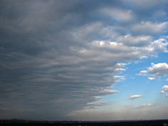 Stratocumulus clouds are uniform grayish clouds that often cover the entire sky.