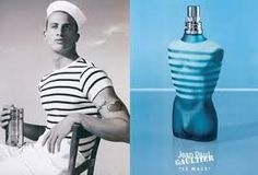The Print Ad titled THE CHIC SAILOR was done for product: Jean-paul Gaultier Perfumes (brand: Beaute Prestige International) in France. Jean Paul Gaultier, Le Male Terrible, Breton Shirt, Powder Lipstick, Dandy Style, Jeans, The Chic, Print Ads, Sailor