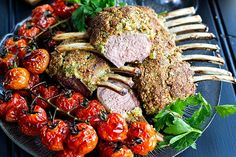 Macadamia, Garlic & Parsley Crusted Rack of Lamb (w Roasted Balsamic Tomatoes) | Eat Drink Paleo