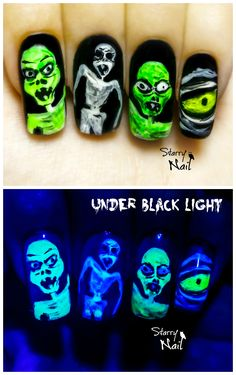 Halloween Scary Zombies ⎮ Glow in the Dark Freehand Nail Art ...