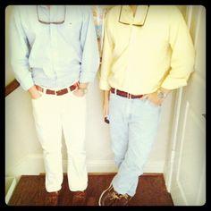 fraternity boys: Polo button down, shades on croakies, seersucker pants, sperrys