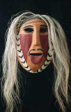 The Guarijios live north of the Mayos and east of the Yaquis on the border of Sonora and Chihuahua. They are closely related to the Tarahumara. As you can see, their Pascola masks resemble the designs of the Mayo and Yaqui, but the color is different. This mask was made by Juan Ramon