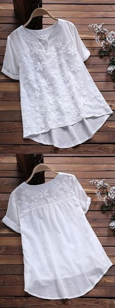 Irregular Floral Embroidery Patchwork Short Sleeve Vintage Blouses look not only special, but also they always show ladies' glamour perfectly and bring surprise. Harlem Nights Outfits, Mode Outfits, Fashion Outfits, Gym Outfits, Embroidery Fashion, Floral Embroidery, Sewing Blouses, Gym Clothes Women, Winter Outfits Women