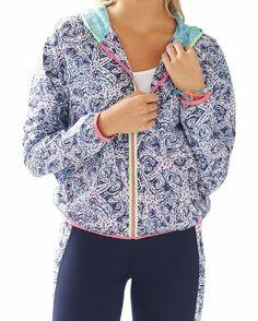 Lilly Pulitzer Luxletic Weekender Windbreaker Jacket in Bright Navy Star Crush
