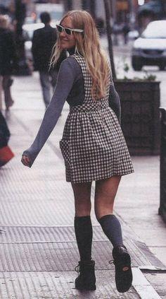 dress + socks + glasses + boots