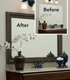 "The ""before"" is a bare, plate glass mirror; the ""after"" a MirrorMate frame in the Grandezza style was added in just minutes! The frame just presses onto the glass for an instant transformation."